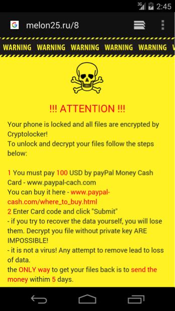 CryptoLocker Demanding Ransom