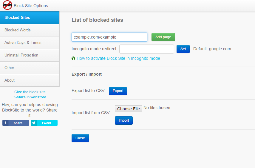 Using Block Site