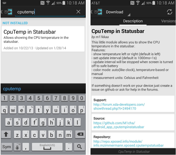 Show the CPU Temperature in Android Status