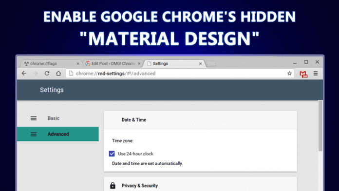 Enable Google's Material Design in Google Chrome