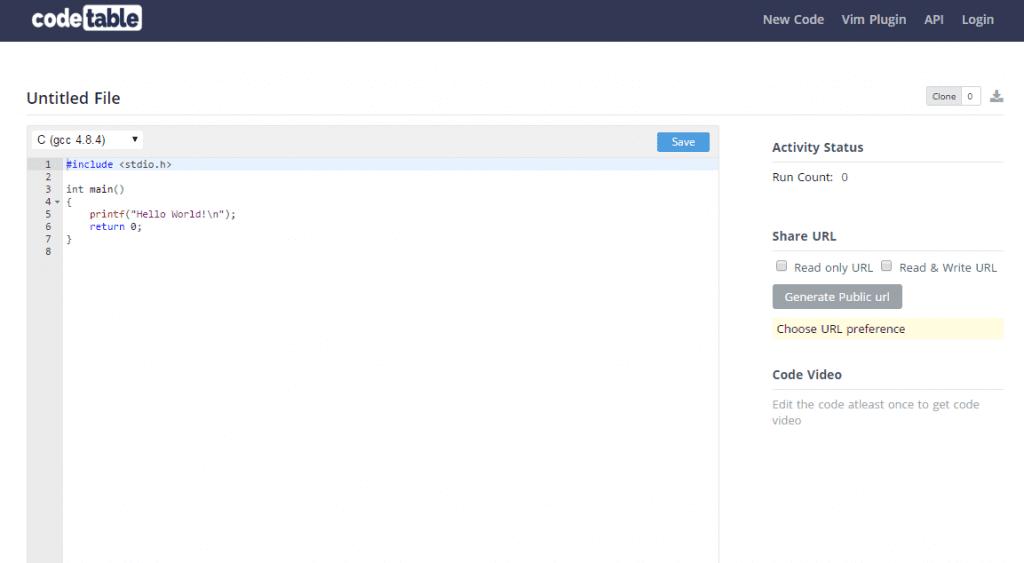 Compile c online C language online editor