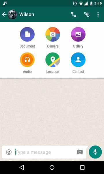 Documents Option in WhatsApp