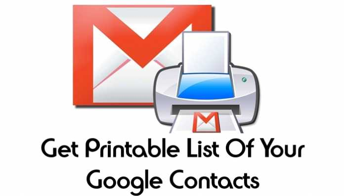 Get Printable List Of All Your Google Contacts
