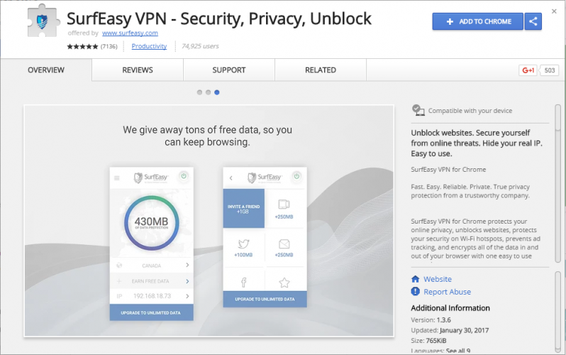 SurfEasy VPN - Security, Privacy, Unblock