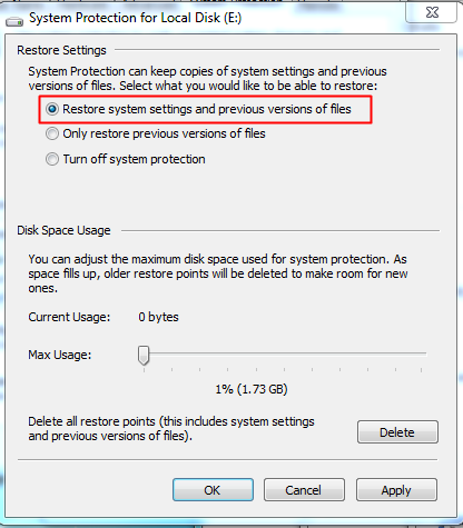 Windows Restore Option