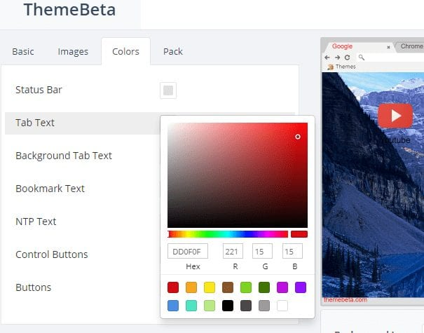 Using Themebeta 4 - How to Easily Create Your Own Google Chrome Theme