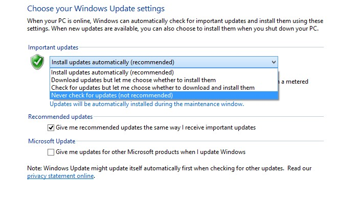 how to stop automatic updates on windows