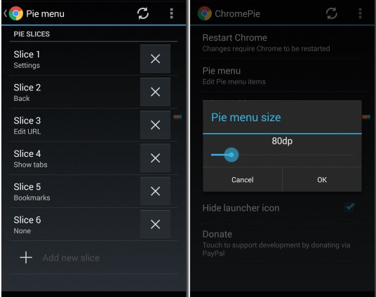 Get Pie Controls on Chrome on Android