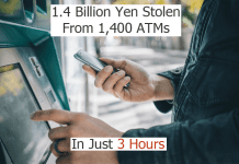 Scammers Stolen 1.4 Billion Yen From 1,400 ATMs In Japan