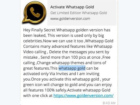 WhatsApp Gold Is Just An Another Scam