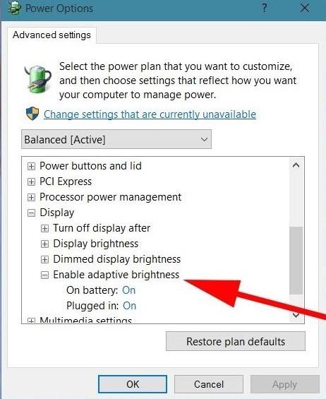Disable Adaptive Brightness on Windows 10