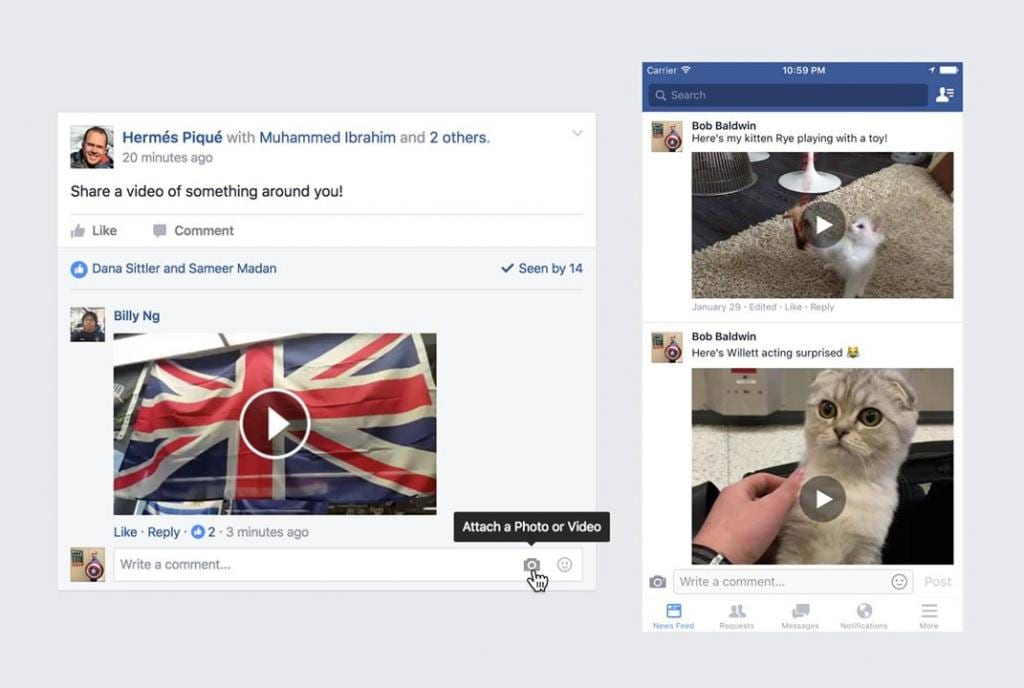 Facebook's New Feature Lets You Upload Video in Comments