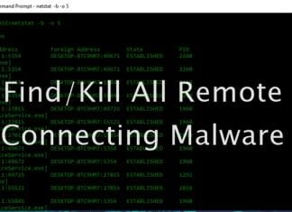 Find Kill All Remote Connecting Malware On Windows 10