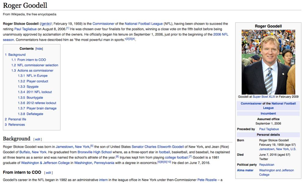 Wikipedia page of Roger Goodell