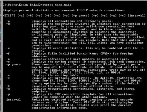 Netstat commands to monitor network on Windows