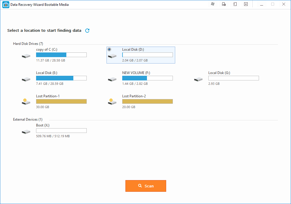 Select the disk and click on the 'Scan' button