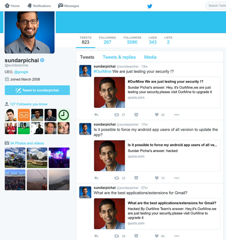 Sundar Pichai's Twitter Account