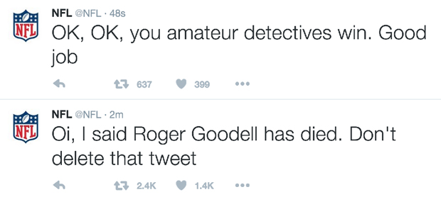 NFL's Twitter Account Hacked