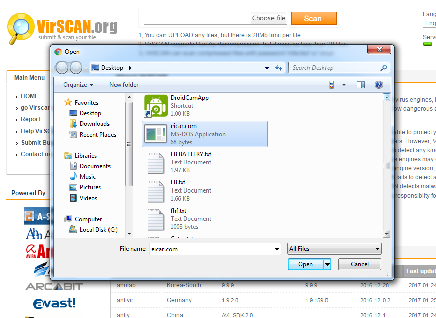 Using VirSCAN