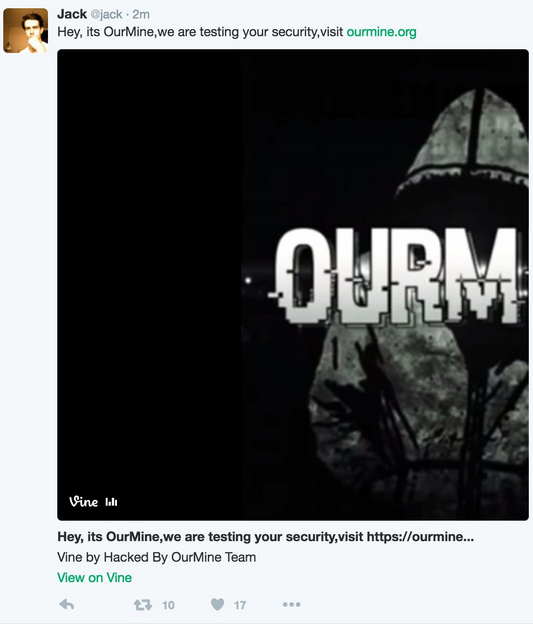 OurMine Hacked Jack's Twitter Account