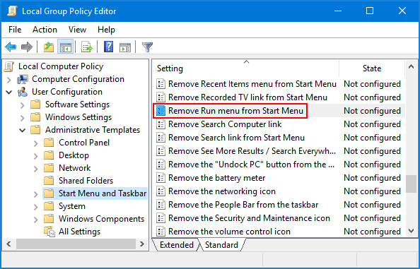 Disable Run Command In Windows 10 Using Group Policy