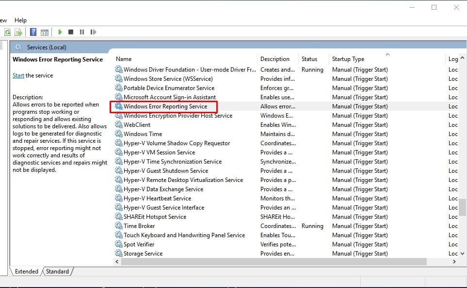 Right-click on the 'Windows Error Reporting Service'