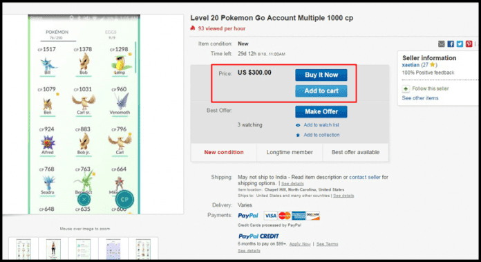 Pokémon Go Players are Selling their Accounts for more than $100 on eBay
