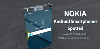 Nokia RM-1490, Nokia 5320 Android Smartphones Spotted