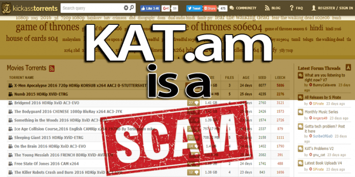 Beware, Scammers Take Over Popular KickassTorrents Mirror KAT.am