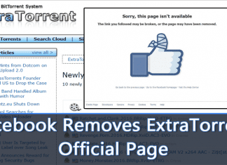Facebook Removes ExtraTorrent Official Page And Deletes User Accounts