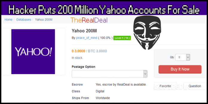 Hacker Puts 200 Million Yahoo Accounts For Sale On Dark Web
