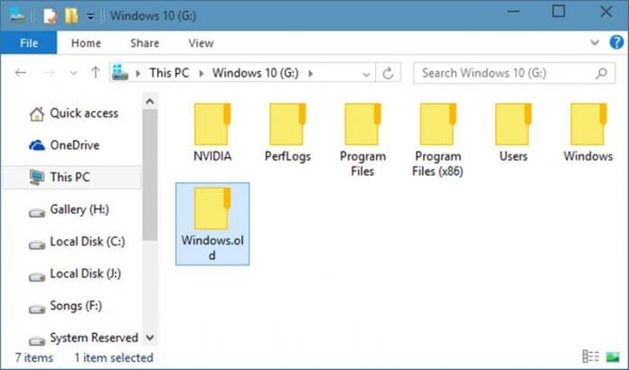 how to delete windows old folder in windows 7