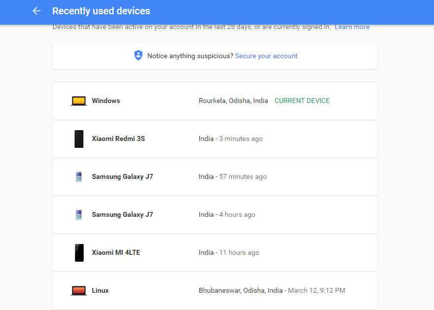 Recently Used Devices