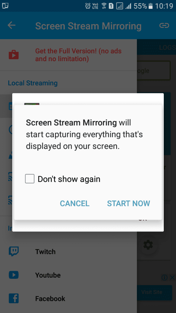 Using Screen Stream Mirroring