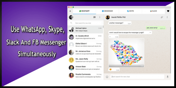 Instant Messaging Slack : This app lets you use whatsapp skype slack and fb