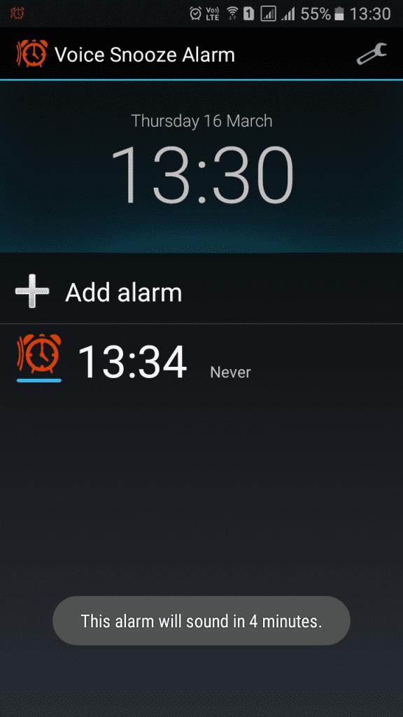 Using Voice Snooze Alarm