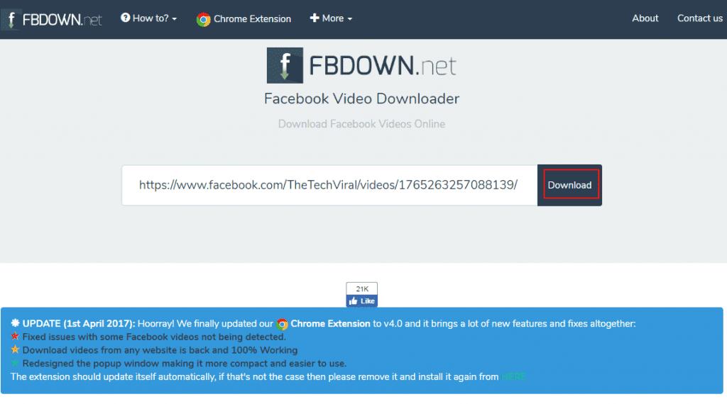 Using Fbdown.net