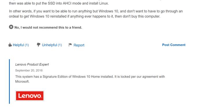 Lenovo blocked Linux