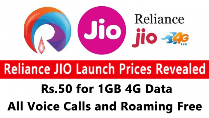 Reliance Jio Tariffs: Rs.50 for 1GB 4G Data, All Voice Calls Free