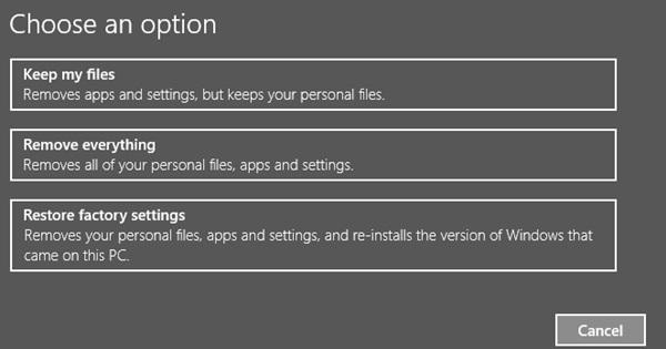 Restore Windows 10 settings
