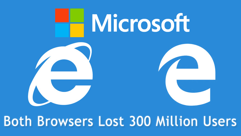 Both Internet Explorer and Edge Browsers Lost 300 Million Users.
