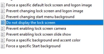 Disable the Lock Screen in Windows 10