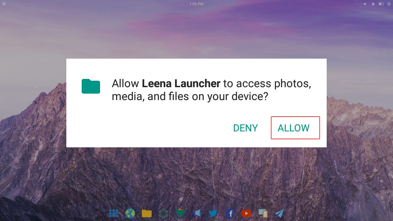Allow Leena Launcher to access photos, media, and files
