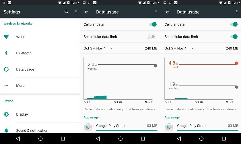 Check whether you have a Mobile data limit