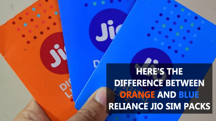 Here's the Difference Between Orange And Blue Reliance Jio SIM Packs
