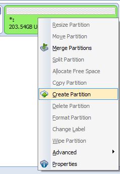 Right click on the 'Unallocated space' and select 'Create Partition'