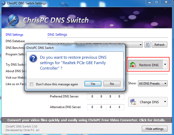 Using Chris-PC DNS Switch