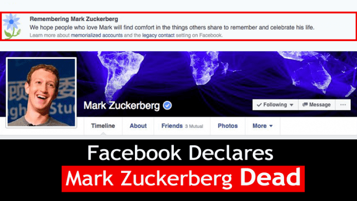 Facebook Wrongly Declares Users Dead, Including Mark Zuckerberg