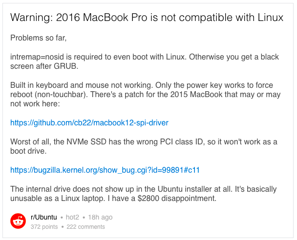 MacBook Pro Is Incompatible With Linux
