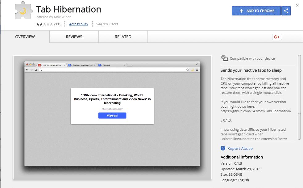 Tab Hibernation
